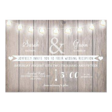 rustic lights wedding reception invitations