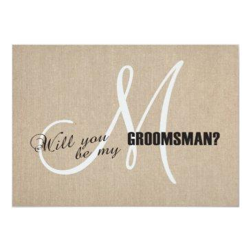 rustic linen canvas wedding be my groomsman invite