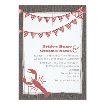 rustic lobster wedding invite from bride & groom