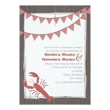 rustic lobster wedding rehearsal dinner invite
