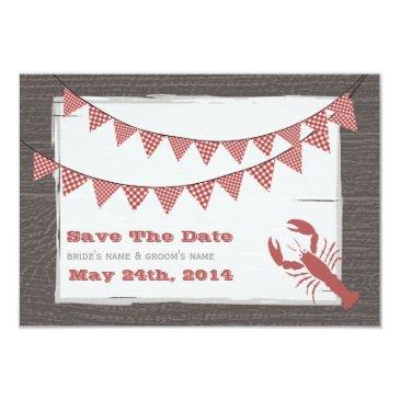 rustic lobster wedding save the date