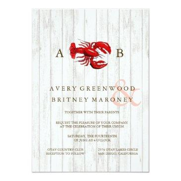 Small Rustic Lobster Wood Wedding Invitation Front View