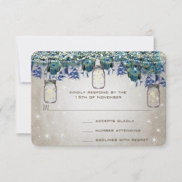 rustic luxe mason jar navy turquoise peacock rsvp