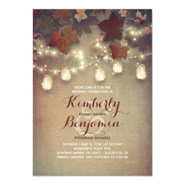 Small Rustic Maple Leaves And Mason Jars Fall Wedding Invitation Front View