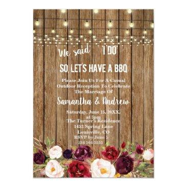 Small Rustic Marsala Floral Old Barn I Do Bbq Invite Front View
