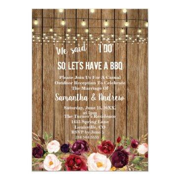 rustic marsala floral old barn i do bbq invite
