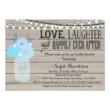 rustic mason jar blue bridal shower