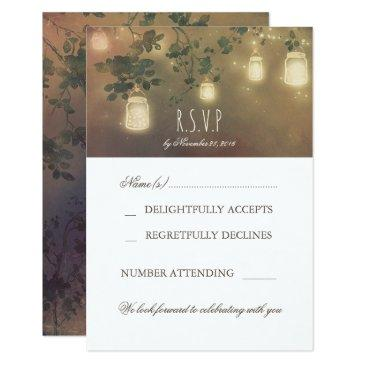rustic mason jar light branches wedding rsvp invitation