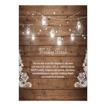 Small Rustic Mason Jar Lights Lace Wedding Details Info Invitation Front View