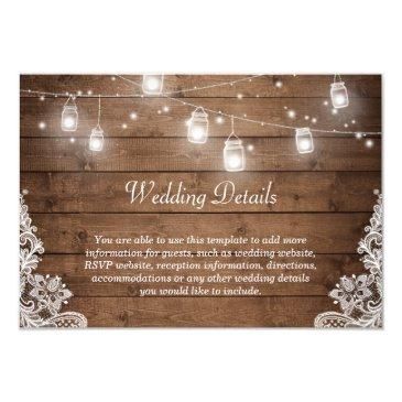 rustic mason jar lights lace wedding details info
