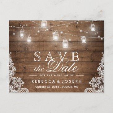 rustic mason jar lights lace wedding save the date announcement post