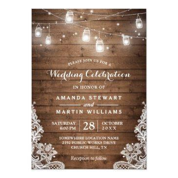 Small Rustic Mason Jar String Light Lace Country Wedding Invitation Front View