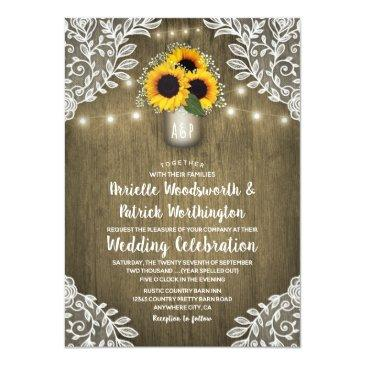 Small Rustic Mason Jar Sunflower Wedding Front View