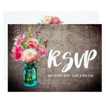 rustic mason jar with flowers song request rsvp
