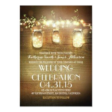 Small Rustic Mason Jars And Lights Wedding Invitationss Front View