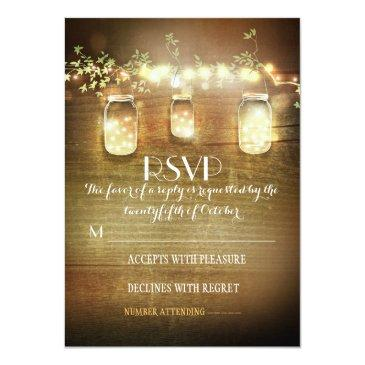 Small Rustic Mason Jars String Lights Wedding Rsvp Front View