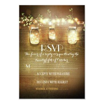 rustic mason jars string lights wedding rsvp