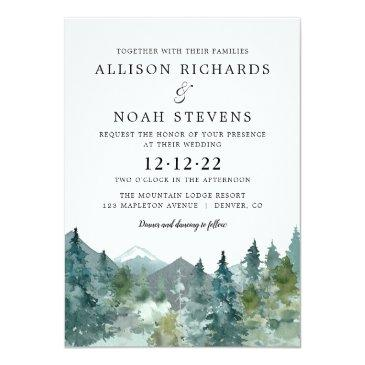 Small Rustic Mountains Forest Watercolor Wedding Invitation Front View