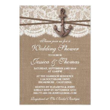 Small Rustic Nautical Anchor Beach Wedding Shower Invitationss Front View