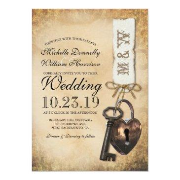 rustic old vintage goth skeleton key wedding invitations