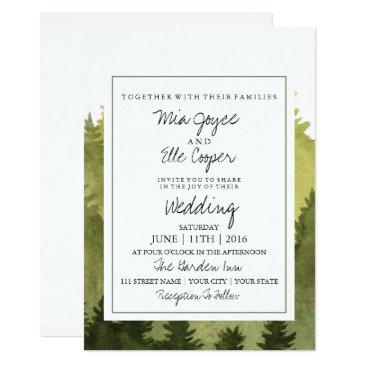 rustic ombre watercolor forest wedding invitations