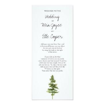 rustic ombre watercolor forest wedding program