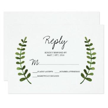 rustic ombre watercolor forest wedding rsvp reply