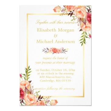 rustic orange floral chic gold white fall