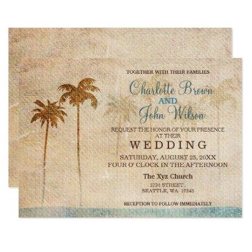 rustic palm trees beach wedding invitation