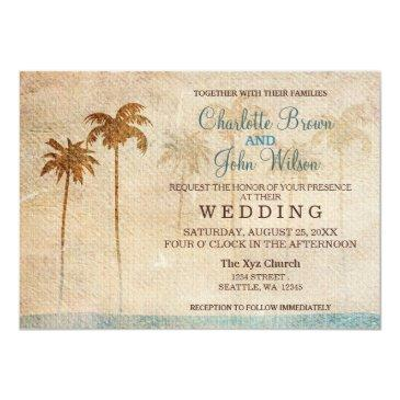 Small Rustic Palm Trees Beach Wedding Front View