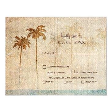 rustic palm trees beach wedding rsvp