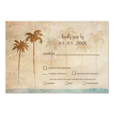 rustic palm trees beach wedding rsvp invitation