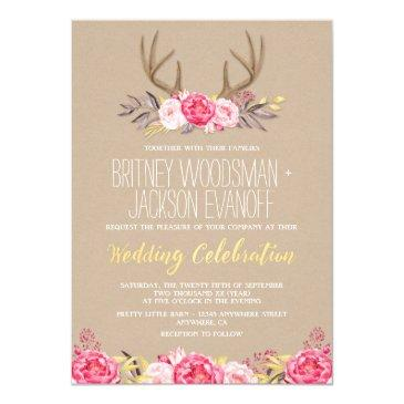 rustic peony and deer antler wedding invitationss