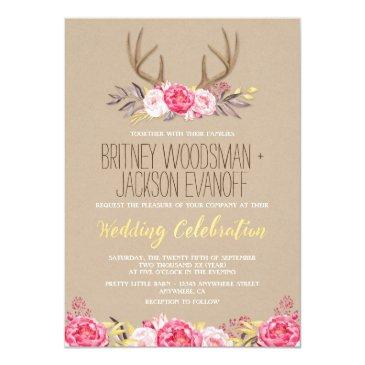 Small Rustic Peony And Deer Antler Wedding Invitation Front View