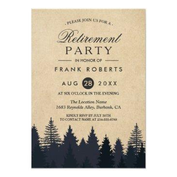 rustic pine trees forest kraft retirement party