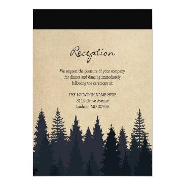 Small Rustic Pine Trees Kraft Wedding Details Reception Invitation Front View