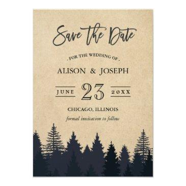 rustic pine trees kraft wedding save the date