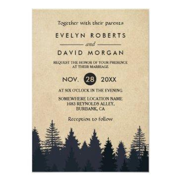 Small Rustic Pine Trees Kraft Winter Wedding Invitations Front View