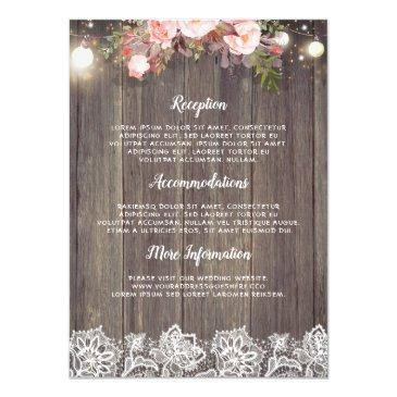 rustic pink floral wedding information guest