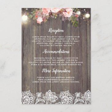 rustic pink floral wedding information guest enclosure