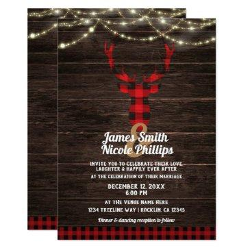 rustic plaid deer antlers wood & string lights invitations
