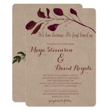 rustic plum | we love because he first loved us invitations