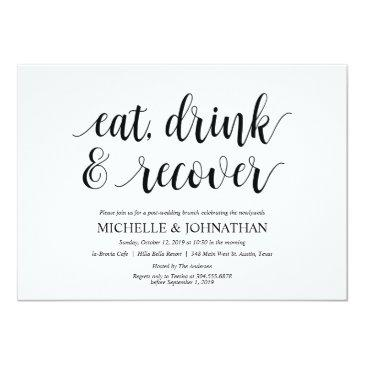 Small Rustic Post Wedding Brunch Invitation Front View