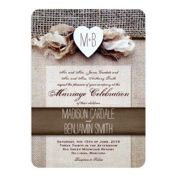 rustic printed burlap heart initial wedding invite
