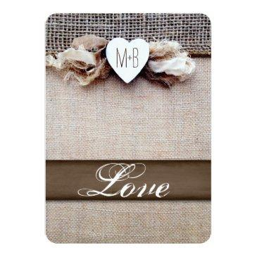 Small Rustic Printed Burlap Heart Initial Wedding Invite Back View