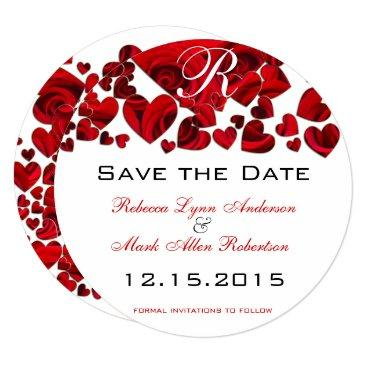 rustic red heart roses wedding save the date
