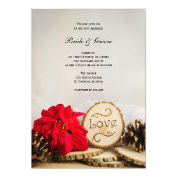 rustic red poinsettia woodland winter wedding