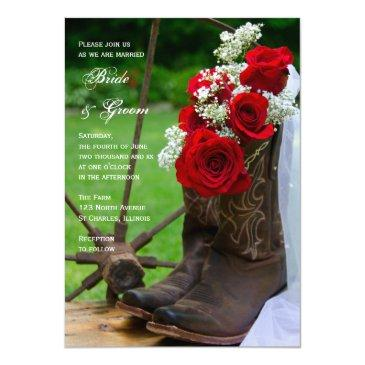 rustic roses cowboy boots country western wedding invitations