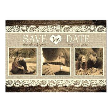 Small Rustic Save The Date | Barn Wood Lace And Burlap Invitationss Front View