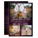 rustic save the date wedding photo collage purple